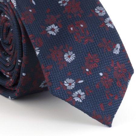 Gravata-Slim-com-estampa-floral-em-poliester-azul-marinho