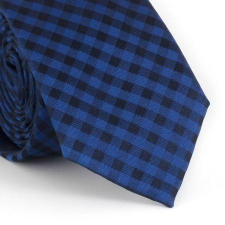 Gravata-Slim-com-desenho-xadrez-em-poliester-azul-e-preto