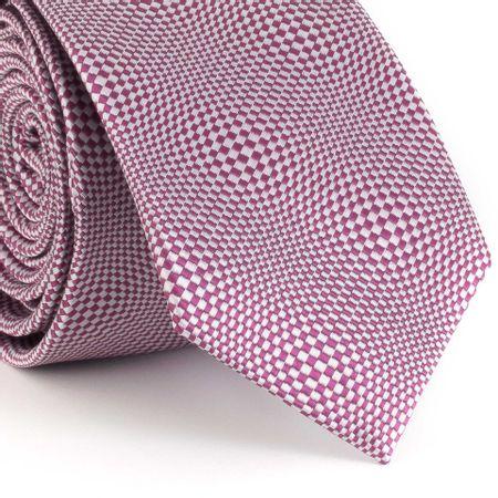 Gravata-Slim-com-desenho-psicodelico-em-poliester-prata-com-pink