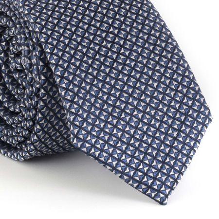 Gravata-Slim-com-desenho-geometrico-small-em-poliester-marinho--com-branco