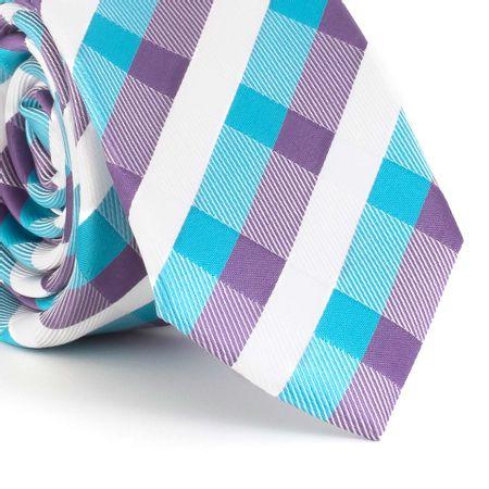 Gravata-Slim--com-desenho-xadrez-em-poliester-roxo-com-verde-agua