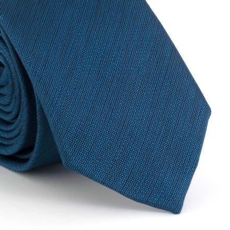 Gravata-Slim-falso-liso-riscado-em-poliester-azul-petroleo