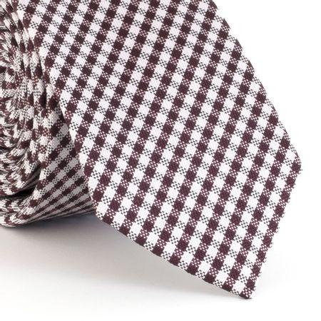 Gravata-Slim--com-desenho-xadrez-em-poliester-marrom-com-branco