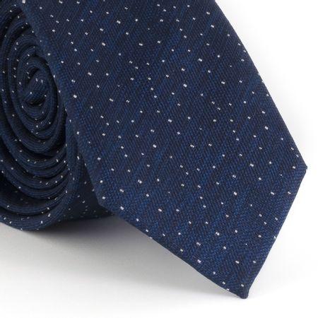 Gravata-Slim--com-desenho-falso-liso-poliester-azul-marinho