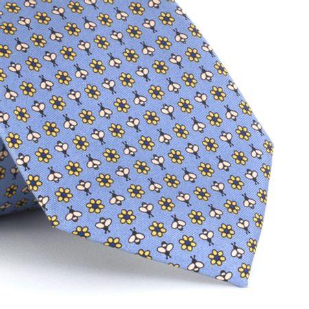 Gravata-estampada-em-seda-pura-Flowes-and-Bee-azul-claro-com-amarelo