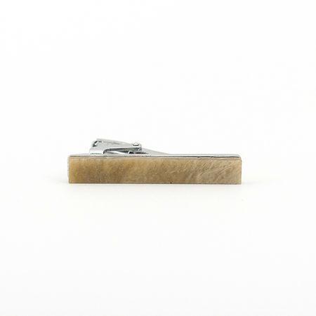 Prendedor-de-gravata-de-pedra-bege-com-glitter-liso-formato-retangular