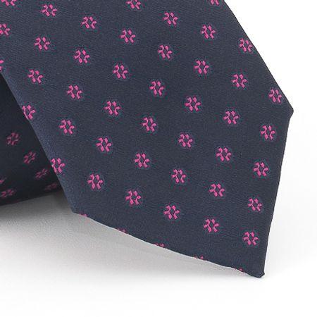 Gravata-petit-floral-em-jacquard-de-poliester-marinho-com-flores-no-tom-rosa