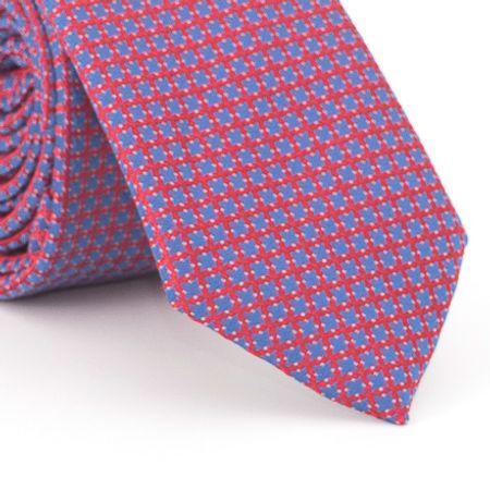 Gravata-Slim-com-desenho-geometrico-em-poliester-Azul-Royal-com-fundo-Vermelho
