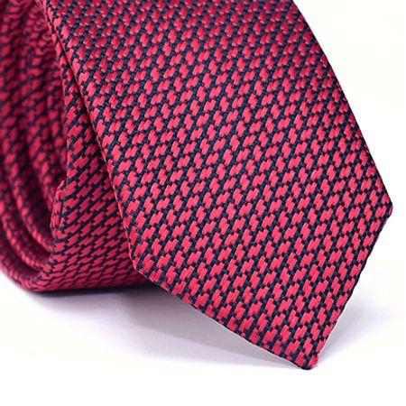 Gravata-Slim-em-Poliester-Desenho-Geometrico-Marsala
