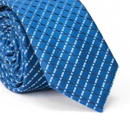 Gravata-Slim-em-Poliester-Azul-com-Desenho-Geometrico-Quadriculado