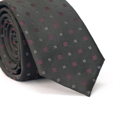 Gravata-Slim-em-Poliester-Preto-com-Desenho-Geometricos-Quadriculados-Roxo