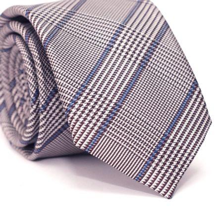 Gravata-Slim-em-Poliester-Xadrez-Cinza-e-Azul