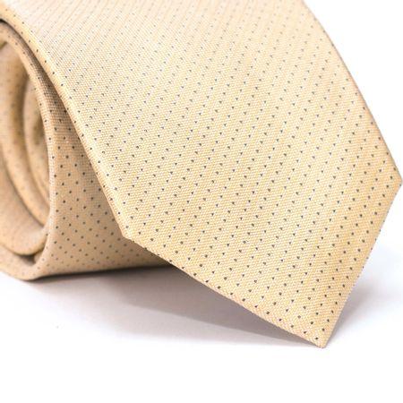 Gravata-Tradicional-Falso-Liso-em-Seda-Pura-Amarela-com-Detalhes-em-Azul-