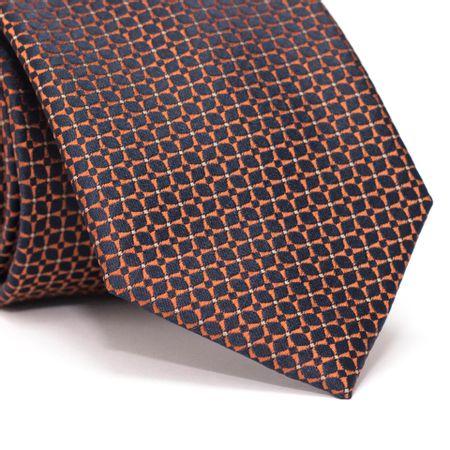 Gravata-Tradicional-em-Poliester-Furta-cor-em-Laranja-com-Azul-Marinho-com-Desenhos-Geometricos