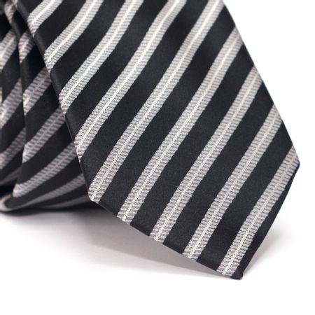 Gravata-Tradicional-em-Poliester-Preta-com-Listras-Diagonais-Cinza-e-Branco-