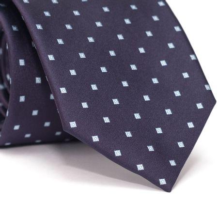 Gravata-Tradicional-em-Poliester-Roxa-com-Desenhos-Geometricos-Azul