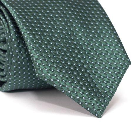 Gravata-Tradicional-em-Poliester-Verde-com-Desenhos-Geometricos-e-Detalhe-em-Azul