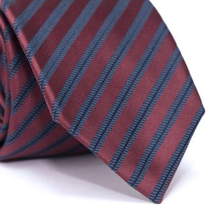 Gravata-Tradicional-em-Poliester-Vermelha-com-Listras-Diagonais-Azul-e-Preto
