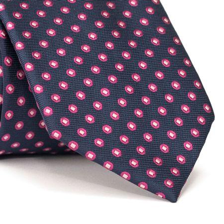 Gravata-Tradicional-em-Poliester-Azul-Marinho-com-Desenhos-Geometricos-em-Rosa