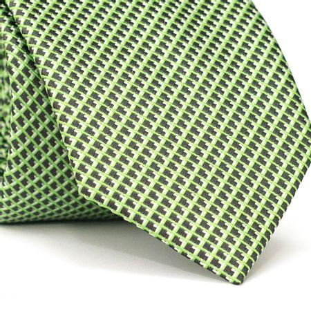 Gravata-Tradicional-em-Poliester-Verde-com-Entrelacado-e-Quadriculado-Preto-e-Branco