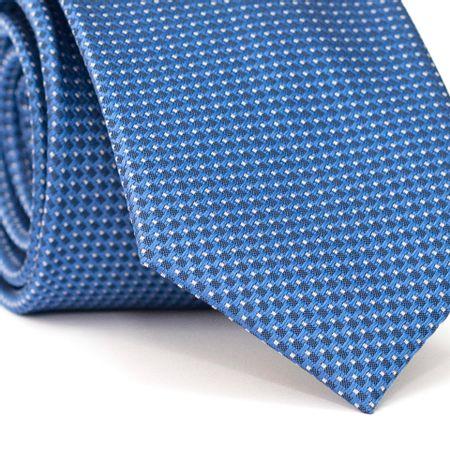 Gravata-Tradicional-em-Poliester-Azul-com-Entrelacado-e-Quadriculado-Preto-e-Branco