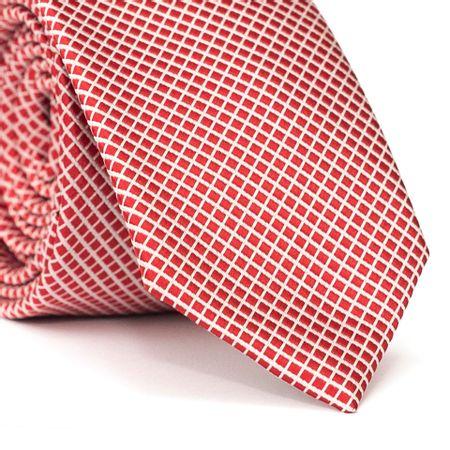 Gravata-Slim-em-Poliester-Vermelha-com-Detalhe-em-Branco
