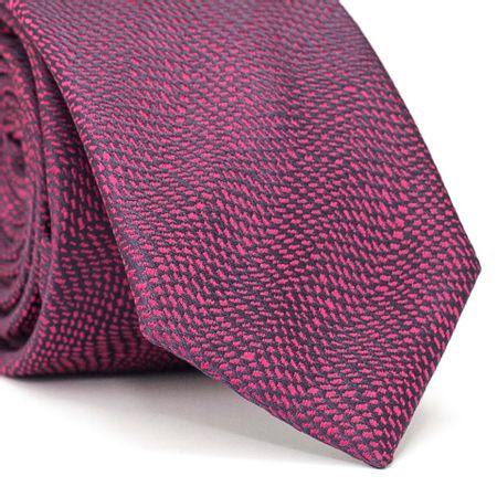 Gravata-Slim-em-Poliester-Azul-Marinho-com-Detalhes-em-Rosa-Pink