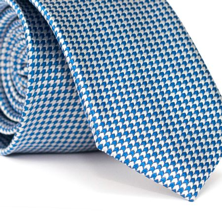 Gravata-Slim-em-Poliester-Azul-com-Detalhes-em-Branco