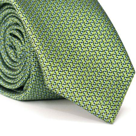 Gravata-Slim-em-Poliester-Verde-Com-Detalhes-em-Azul-e-Preto