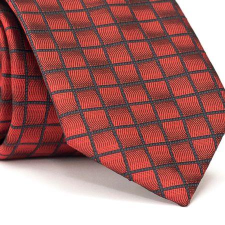 Gravata-Tradicional-em-Poliester-Vermelha-com-Quadriculado-em-Preto-com-Detalhes-em-Preto