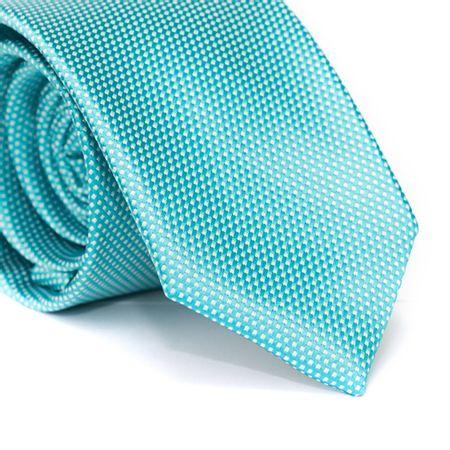 Gravata-Tradicional-em-Poliester-Falso-Liso-Azul-Turquesa-com-Detalhes-em-Branco