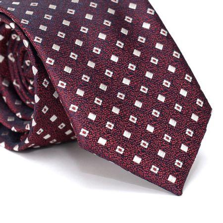 Gravata-Tradicional-em-Poliester-Falso-Liso-Vermelha-com-Fundo-Azul-Marinho-com-Desenhos-Geometricos-m-Branco