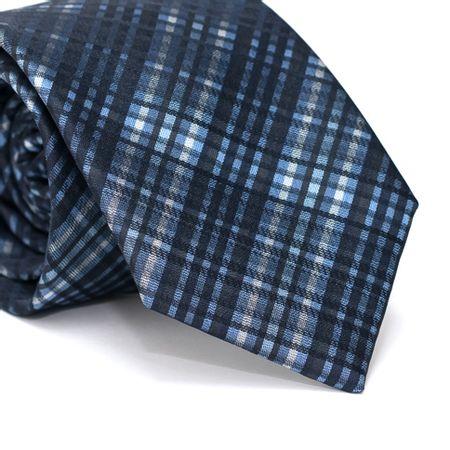 Gravata-Tradicional-em-Poliester-Xadrez-Azul-Com-Branco-e-Preto-Com-Riscados-em-Preto