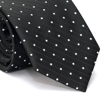 Gravata-Tradicional-em-Poliester-Preta-com-Detalhes-em-Branco-e-Listras-Diagonais