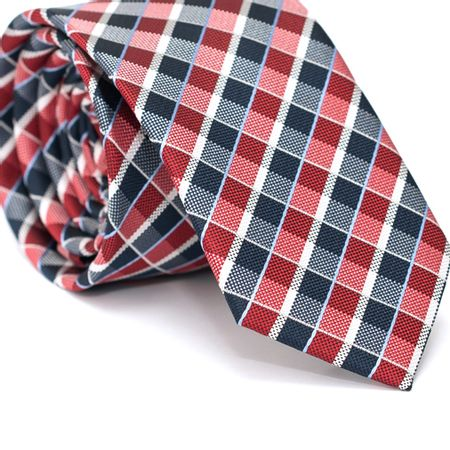 Gravata-Slim-em-Poliester-Xadrez-Vermelha-e-Azul-com-Detalhes-em-Branco-e-Azul