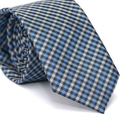 Gravata-Slim-em-Poliester-Xadrez-Cinza-Azul-e-Preto-com-Riscados-Branco
