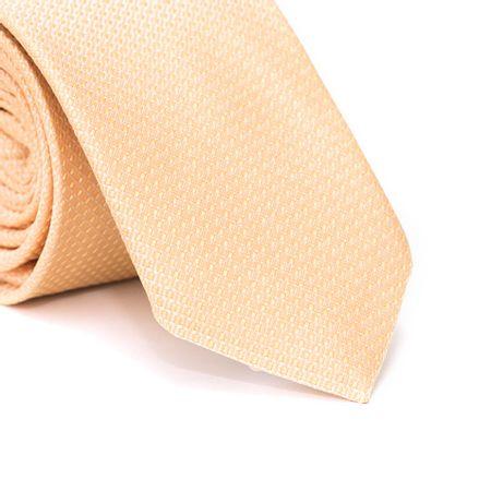 Gravata-Slim-em-Poliester-Falso-Liso-Laranja-com-Detalhes-em-Amarelo