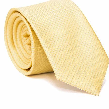 Gravata-Slim-em-Poliester-Falso-Liso-Amarela-com-Detalhes-em-Laranja