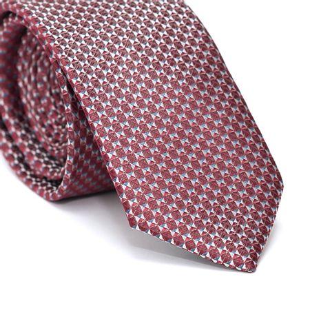 Gravata-Slim-em-Poliester-Vermelha-com-Desenhos-Geometricos-Azul-Prata-e-Vermelho