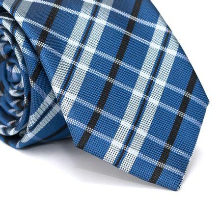 Gravata-Tradicional-em-Poliester-Xadrez-Azul-Com-Detalhes-Preto-e-Branco