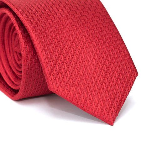 Gravata-Tradicional-em-Poliester-Vermelha-com-Falso-Liso-com-Detalhes-na-Trama
