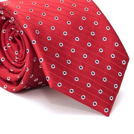 Gravata-Tradicional-em-Poliester-Vermelha-com-Detalhes-em-Branco-e-Preto-e-Listras