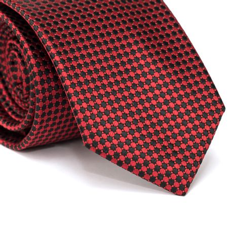 Gravata-Tradicional-em-Poliester-Vermelha-com-Desenhos-Geometricos-Preto