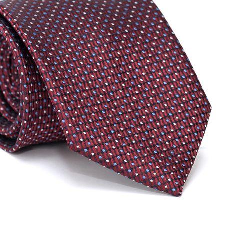 Gravata-Tradicional-em-Poliester-Vermelha-com-Desenho-Geometrico-Preto-e-Detalhes-Azul-e-Amarelo