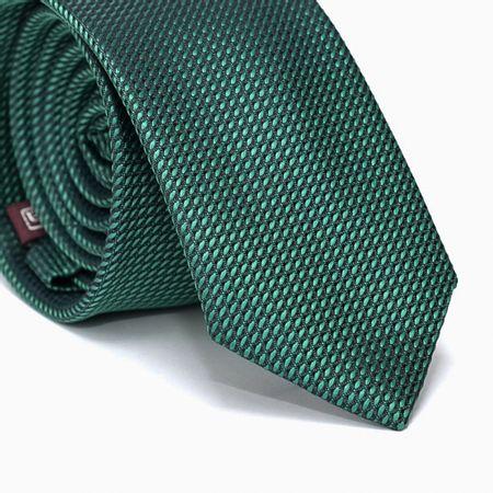 Gravata-Slim-em-Poliester-Verde-com-Desenhos-Geometricos-Preto-na-Trama