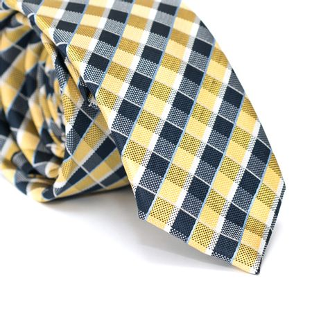 Gravata-Slim-em-Poliester-Xadrez-Amarelo-e-Azul-Marinho-com-Detalhes-Azul-e-Branco