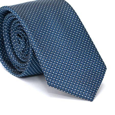 Gravata Slim em Poliéster Azul Marinho com Desenhos Geométricos com Poa Branco