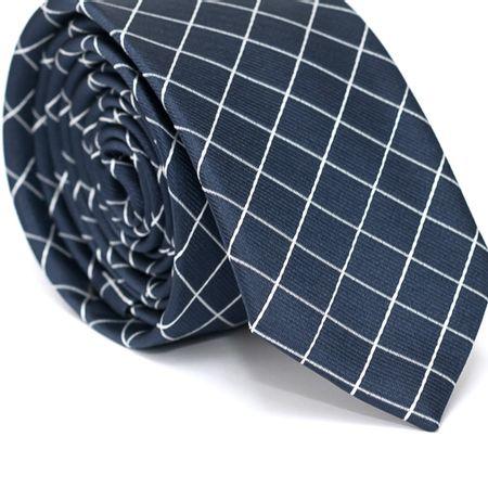 Gravata-Slim-em-Poliester-Azul-Marinho-com-Quadriculado-Branco