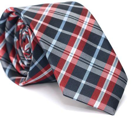 Gravata-Slim-em-Poliester-Xadrez-Azul-Marinho-e-Vermelho-com-Detalhes-Azul-e-Riscados-Branco