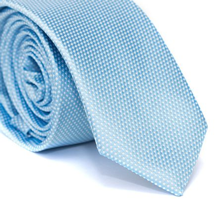 Gravata-Slim-em-Poliester-Azul-Claro-com-Detalhes-em-Branco-na-Trama